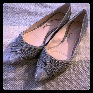 Nina pointes tow dress flats silver sparkle 7